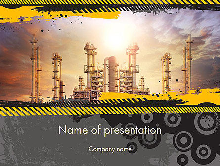 Utilities/Industrial: Exterior Tube of Petrochemical Plant PowerPoint Template #14384