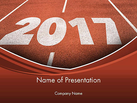 Business Concepts: 2017 Numbers on Running Track PowerPoint Template #14385