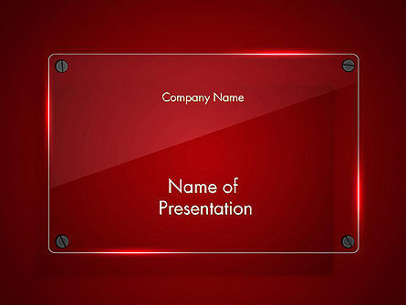 Glass Plate on Red Background PowerPoint Template