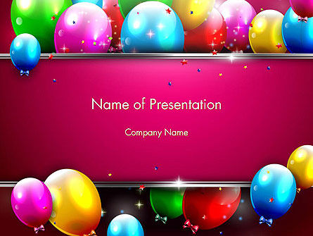 Holiday/Special Occasion: Colorful Balloons Festive PowerPoint Template #14389