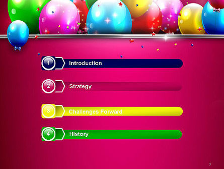 Colorful Balloons Festive PowerPoint Template, Slide 3, 14389, Holiday/Special Occasion — PoweredTemplate.com