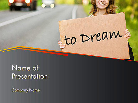 Young Tourist Hitchhiking Along a Road with Message Board PowerPoint Template