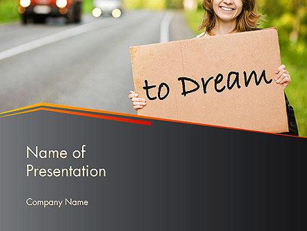 Business Concepts: Plantilla de PowerPoint - joven turista haciendo autostop a lo largo de un camino con tablón de mensajes #14402