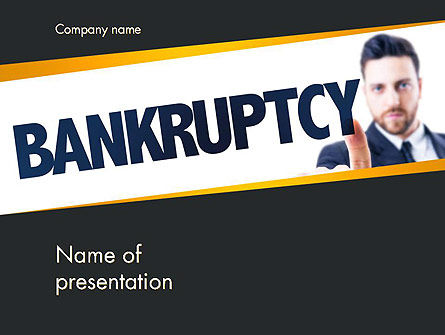 Businessman Pointing the Text Bankruptcy PowerPoint Template, 14405, Financial/Accounting — PoweredTemplate.com