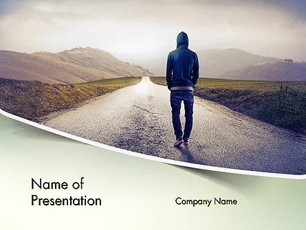 teenager walking away alone on the road powerpoint template, Modern powerpoint