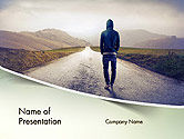 People: Teenager Walking Away Alone on The Road PowerPoint Template #14407