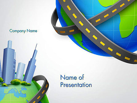 Construction: Road Around Globe with Skyscrapers PowerPoint Template #14409