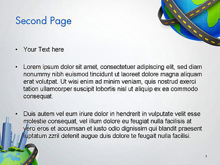 Road Around Globe with Skyscrapers PowerPoint Template, Slide 2, 14409, Construction — PoweredTemplate.com