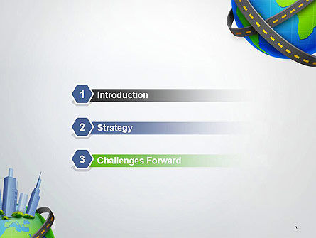 Road Around Globe with Skyscrapers PowerPoint Template, Slide 3, 14409, Construction — PoweredTemplate.com