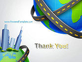 Road Around Globe with Skyscrapers PowerPoint Template#20