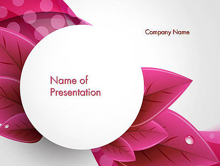 Leaves And Pink Wave Abstract Powerpoint Template Backgrounds