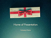 Holiday/Special Occasion: Gift Box with Red Ribbon PowerPoint Template #14413
