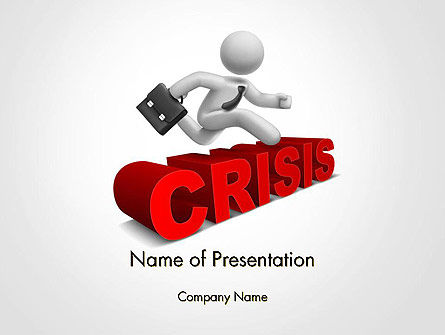 3D: 3D Businessman Jumping Over Crisis Word PowerPoint Template #14417