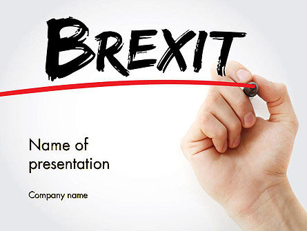 Hand Writing Brexit with Marker PowerPoint Template