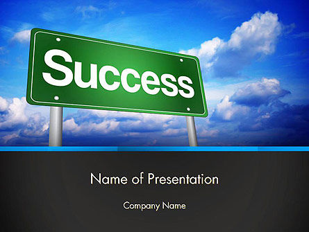 Business Concepts: Success Green Waymark PowerPoint Template #14423