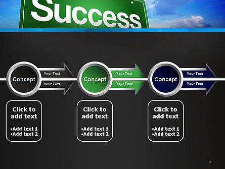 Success Green Waymark PowerPoint Template Slide 11
