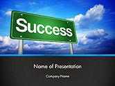 Success Green Waymark PowerPoint Template#1