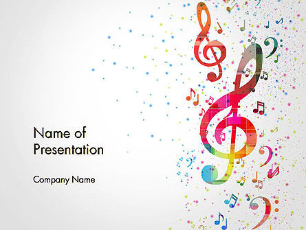 falling colorful music notes powerpoint template backgrounds
