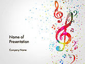 Art & Entertainment: Falling Colorful Music Notes PowerPoint Template #14425