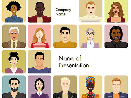 Avatars in Cartoon Style PowerPoint Template, 14427, People — PoweredTemplate.com