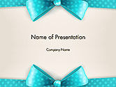 Holiday/Special Occasion: Blue Ribbons and Bows Frame PowerPoint Template #14428