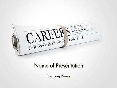 Rolled Newspaper with Headline Careers PowerPoint Template