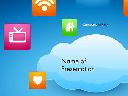 Hybrid Cloud Storage PowerPoint Template, 14433, Technology and Science — PoweredTemplate.com