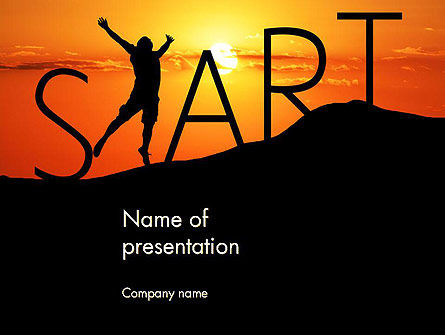 Start Concept on Sunset Silhouette PowerPoint Template, 14434, Careers/Industry — PoweredTemplate.com