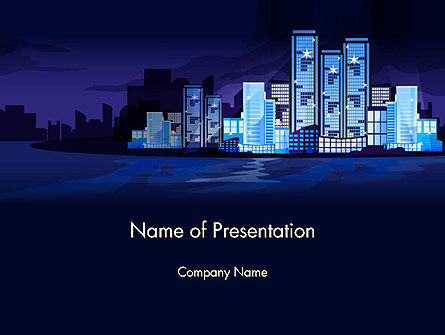 Night City Light PowerPoint Template, 14438, Construction — PoweredTemplate.com