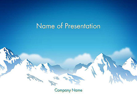 Snowy Mountains PowerPoint Template, 14444, Nature & Environment — PoweredTemplate.com