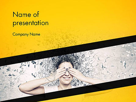 People: Young Woman Hiding Eyes Behind Palms PowerPoint Template #14445