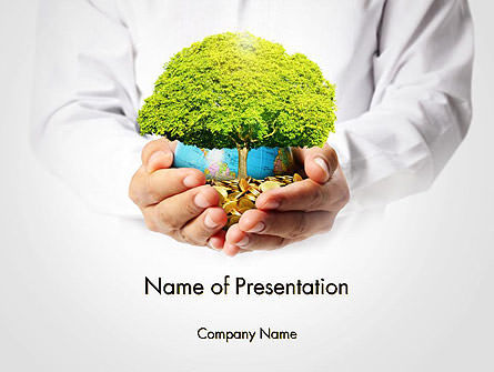 Financial/Accounting: Man Hands Holding Money Tree PowerPoint Template #14447