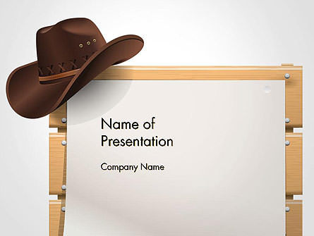 Cowboy Hand on Frame PowerPoint Template, 14449, Abstract/Textures — PoweredTemplate.com