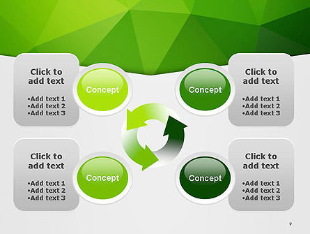 Abstract Green Triangle Background PowerPoint Template Slide 9