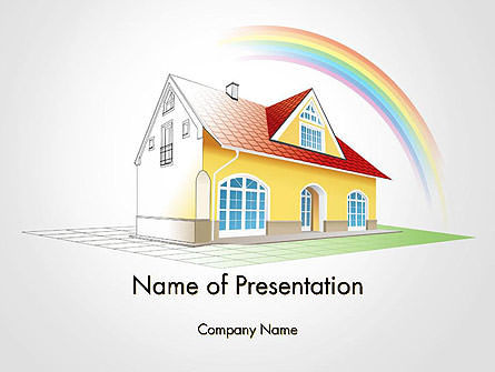 Construction: House From Sketch to Colorful Reality PowerPoint Template #14455
