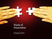Woman Hands with Puzzle Pieces PowerPoint Template#1