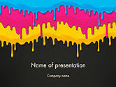 Abstract/Textures: Dripping CMYK Paint PowerPoint Template #14459