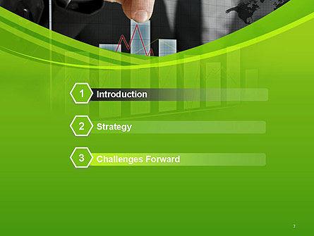 Businessman Hand Pulling Upwards Column of Graph PowerPoint Template Slide 3