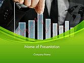 Financial/Accounting: Plantilla de PowerPoint - empresario mano tirando hacia arriba columna del gráfico #14463