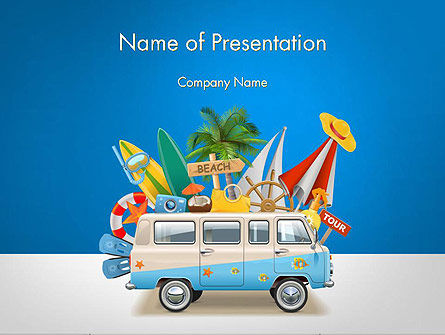 Bus Going to a Beach PowerPoint Template, 14464, Careers/Industry — PoweredTemplate.com