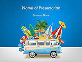 Careers/Industry: Bus Going to a Beach PowerPoint Template #14464