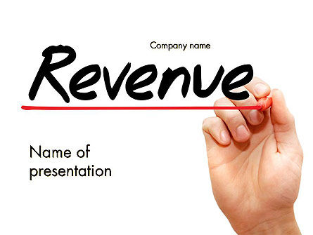 Financial/Accounting: Hand Writing Revenue with Marker PowerPoint Template #14465