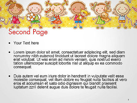 Frame with Cartoon Children Toys and Candy PowerPoint Template, Slide 2, 14470, Education & Training — PoweredTemplate.com