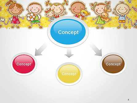 Frame with Cartoon Children Toys and Candy PowerPoint Template Slide 4