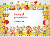 Education & Training: Frame with Cartoon Kids, Toys and Sweets PowerPoint Template #14470