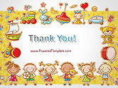 Frame with Cartoon Children Toys and Candy PowerPoint Template#20