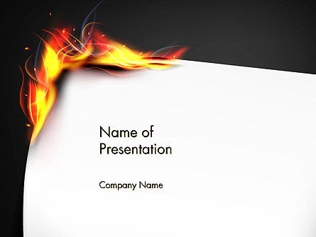 burning piece of paper powerpoint template backgrounds 14471