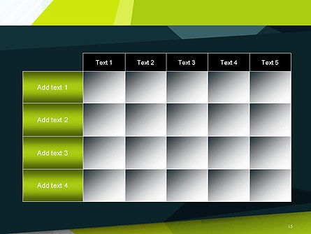Green Geometrical Shapes Abstract PowerPoint Template Slide 15