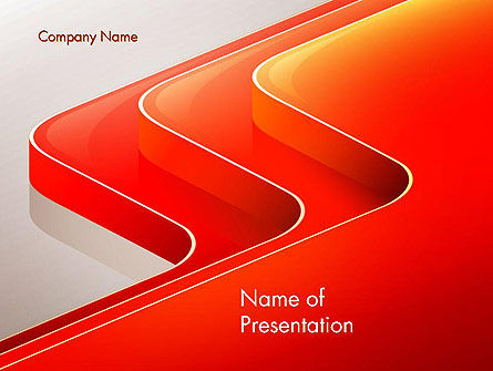 Abstract Glossy Red Orange Perspective Steps PowerPoint Template, 14479, Abstract/Textures — PoweredTemplate.com