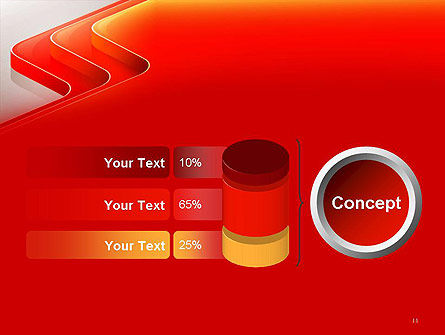 Abstract Glossy Red Orange Perspective Steps PowerPoint Template Slide 11